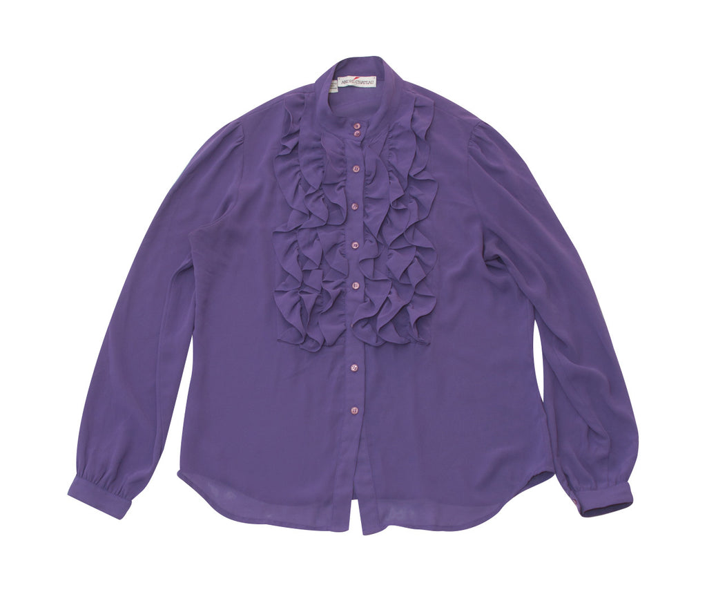 Vintage 1980s Andre' Chateau Purple Ruffled Front Blouse - Terminology