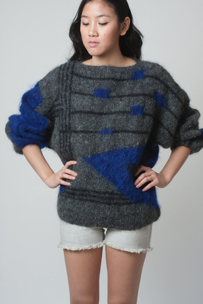 Vintage 1980s Grey Geometric Sweater with Black and Blue Knit - Terminology