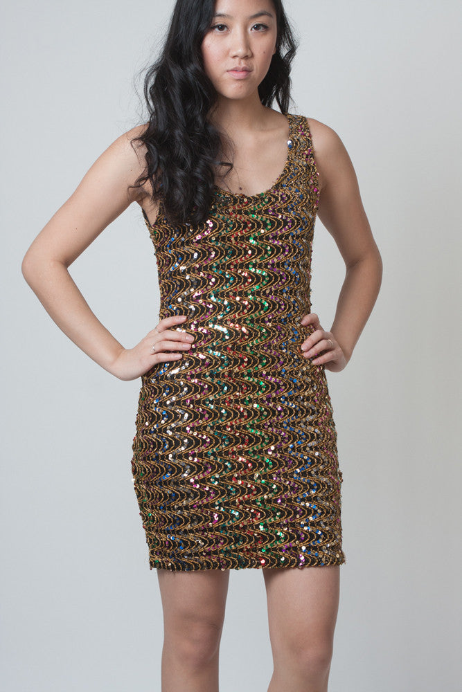 Vintage Multi-coloured Sequined Bodycon Dress