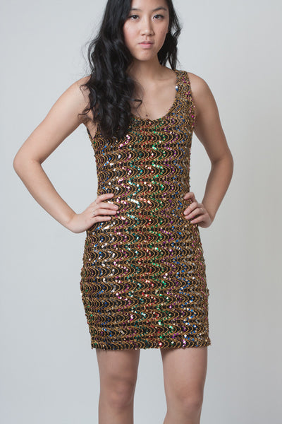 Vintage Multi-coloured Sequined Bodycon Dress - Terminology