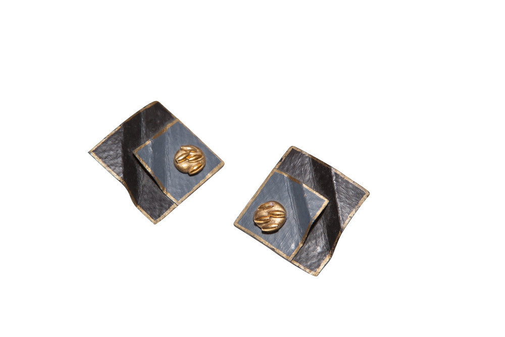 Vintage Square Folded Pale Blue/Gold Earrings
