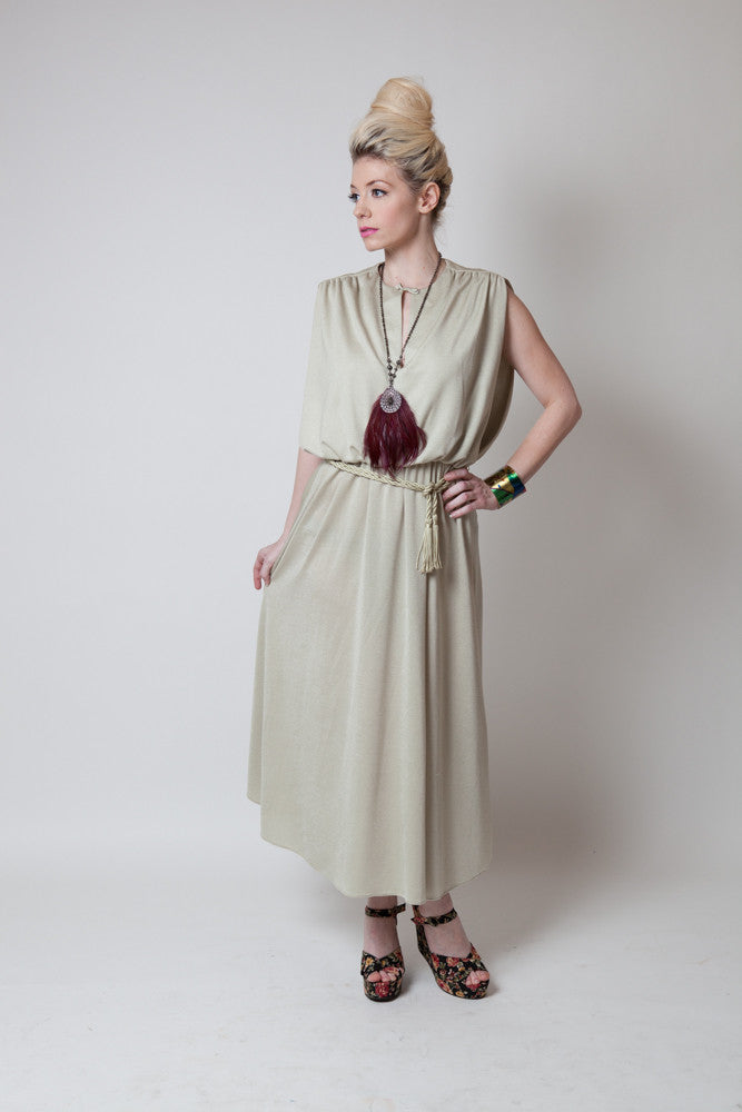 "Vintage Leslie Fay Tan Split Neck ""Miami"" Dress - Terminology"