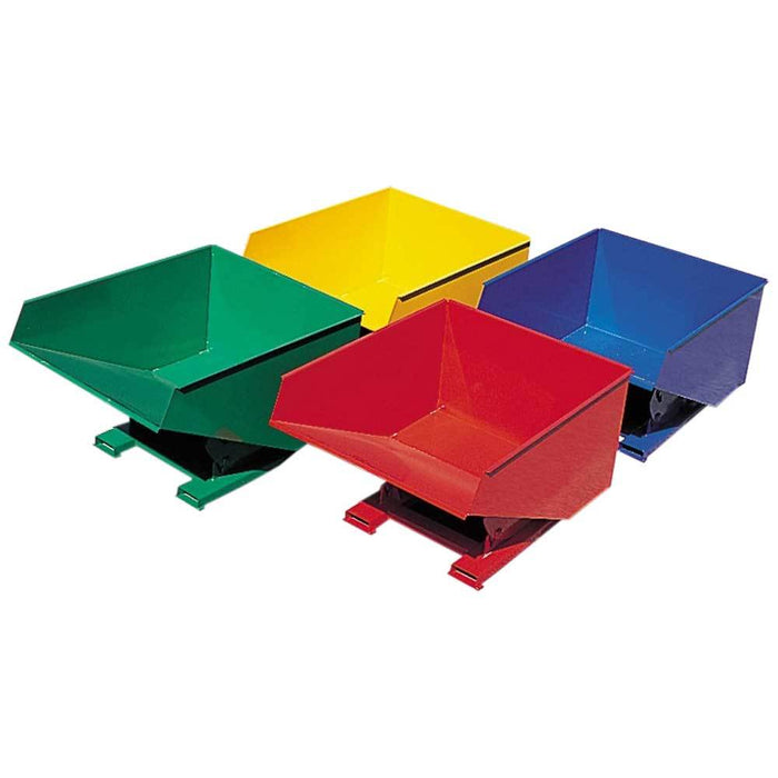 Different colours of forklift tipping bins