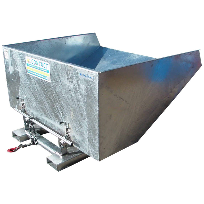 Galvanised tipping hopper for forklift truck