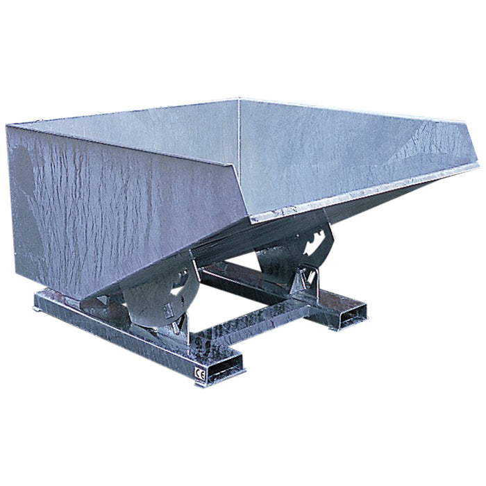 Galvanised tip skip for forklift truck