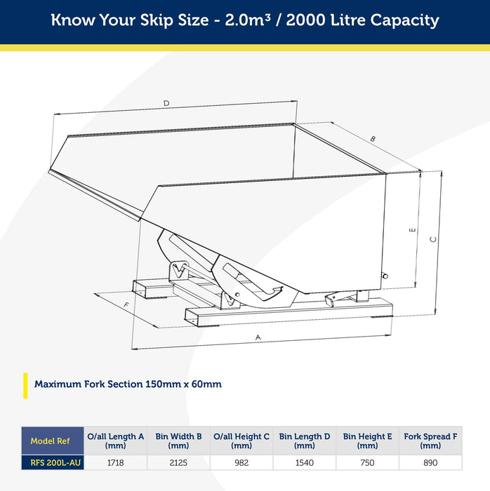 2.0m3 Capacity Auto Release Tipping Bin