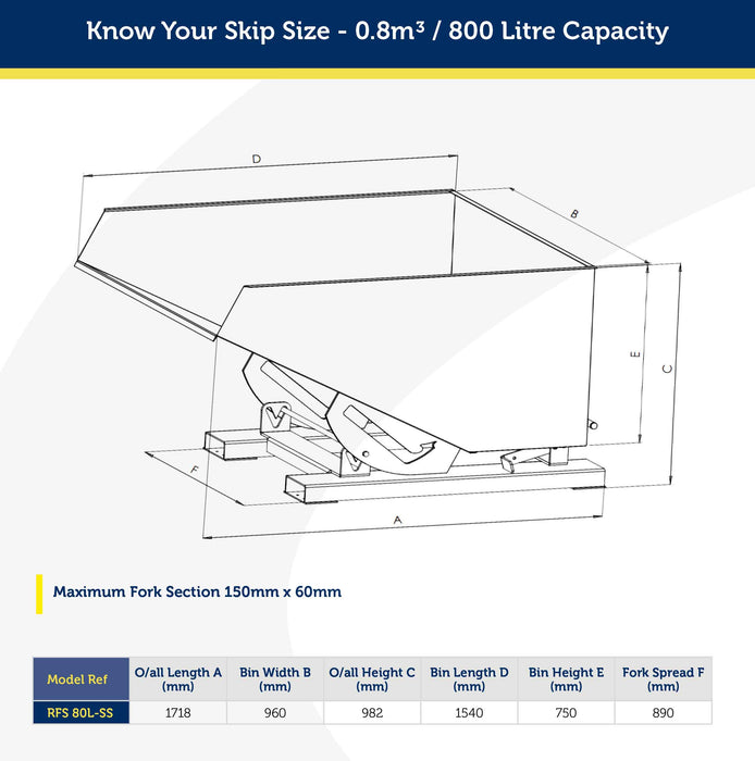 stainless steel forklift skip size