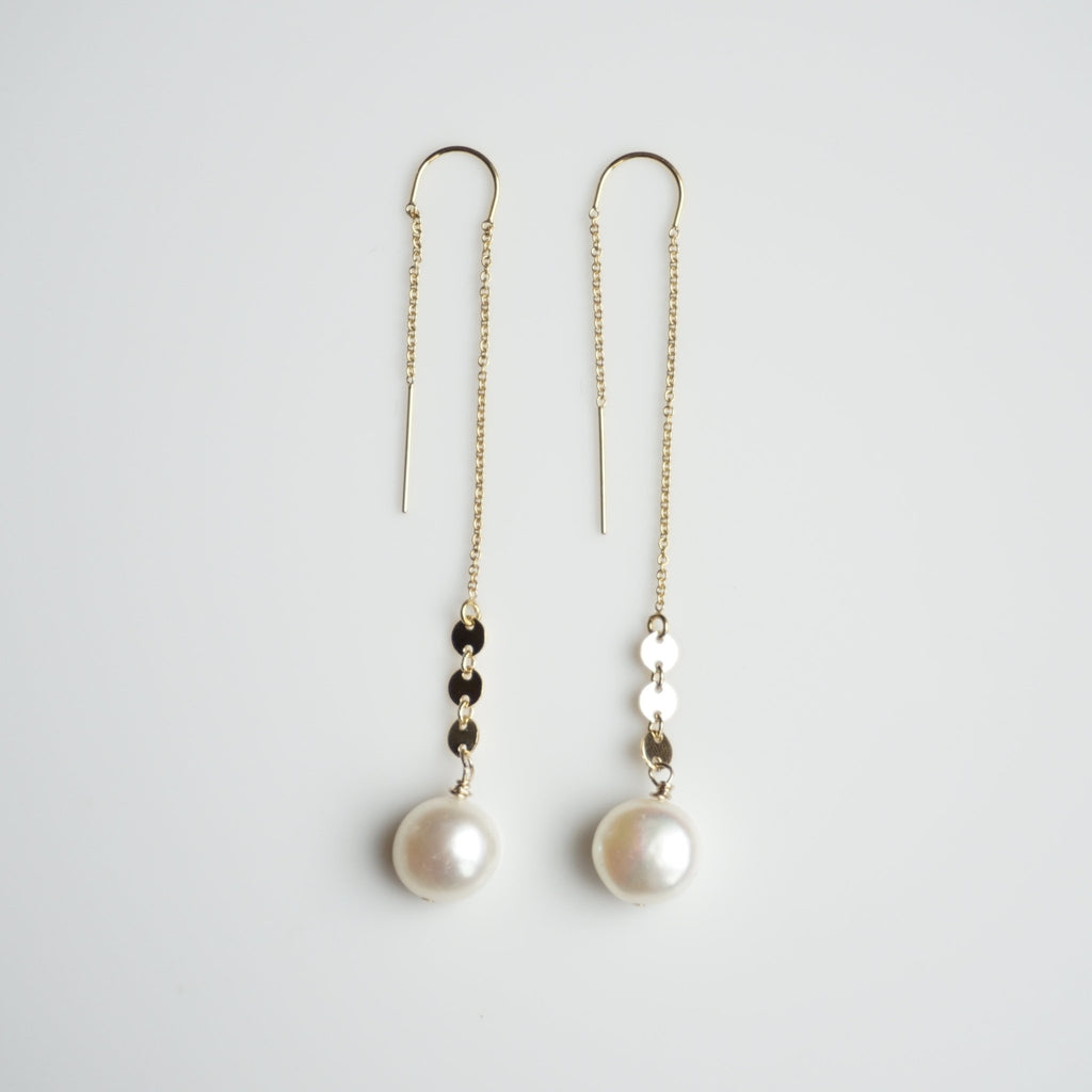 Cambria Pearl Threaders - Delicora Jewelry