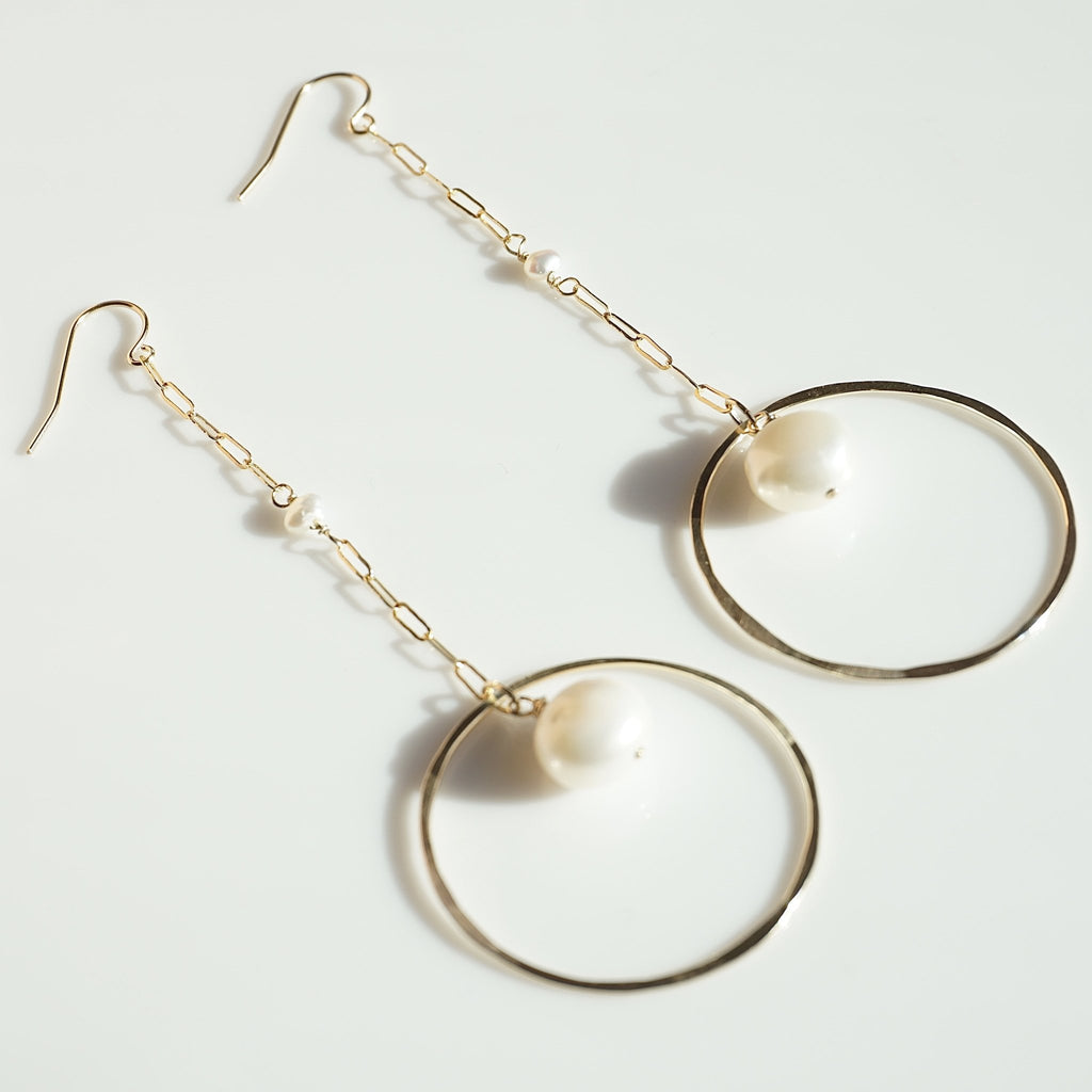New Brighton Pearl Hoops - Delicora Jewelry
