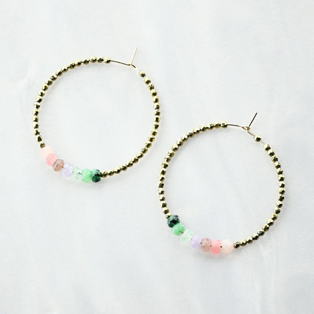 Thi Jade Beaded Hoops - Delicora Jewelry