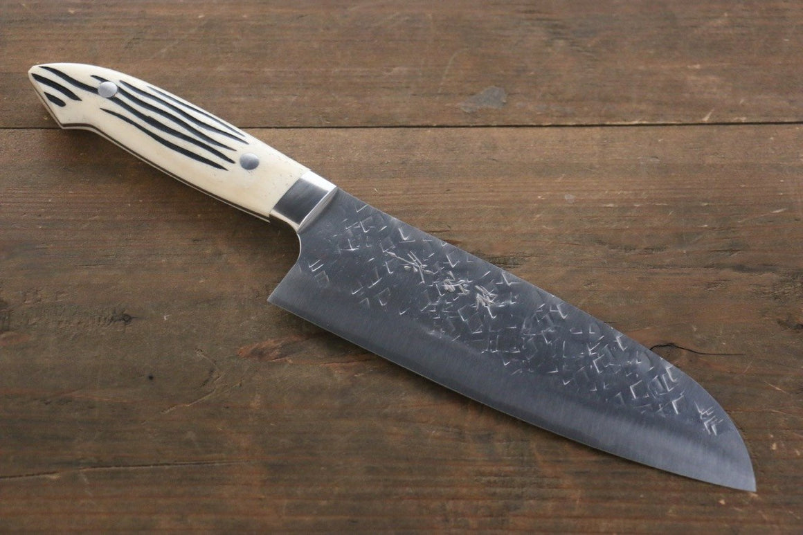 Takeshi Saji SRS13 Hammered Santoku Japanese Chef Knife 180mm with Bone Handle - Japanny - Best Japanese Knife