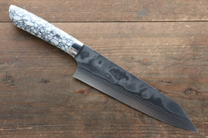 Takeshi Saji Coreless Diamond Finish Damascus Kiritsuke Gyuto Japanese Knife 180mm with Cloud Turquoise Handle - Japanny - Best Japanese Knife