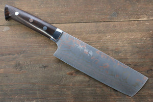 Takeshi Saji Blue Steel No.2 Colored Damascus Nakiri Japanese Knife 175mm with Ironwood Handle - Japanny - Best Japanese Knife
