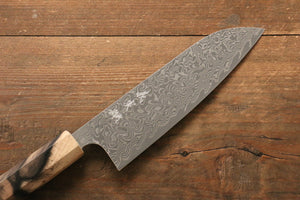 Yoshimi Kato R2/SG2 Damascus Santoku Japanese Knife 165mm with Black Persimmon Handle A - Japanny - Best Japanese Knife