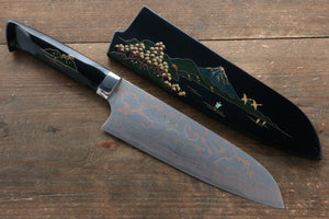 Takeshi Saji Blue Steel No.2 Colored Damascus Maki-e Art  Santoku Japanese Knife 180mm with Lacquered Handle (Fuji)