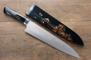 Takeshi Saji Blue Steel No.2 Colored Damascus Maki-e Art  Gyuto Japanese Knife 240mm with Lacquered Handle (Fuji)