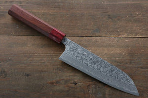Yoshimi Kato R2/SG2 Damascus Santoku Japanese Chef Knife 170mm with Honduras Handle