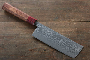 Yoshimi Kato R2/SG2 Damascus Nakiri Japanese Chef Knife 165mm with Honduras Handle - Japanny - Best Japanese Knife