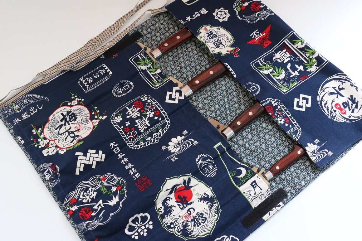 Japanese Style Knife Roll Konsake-Ura-Konkasuri 4 Pockets - Japanny - Best Japanese Knife