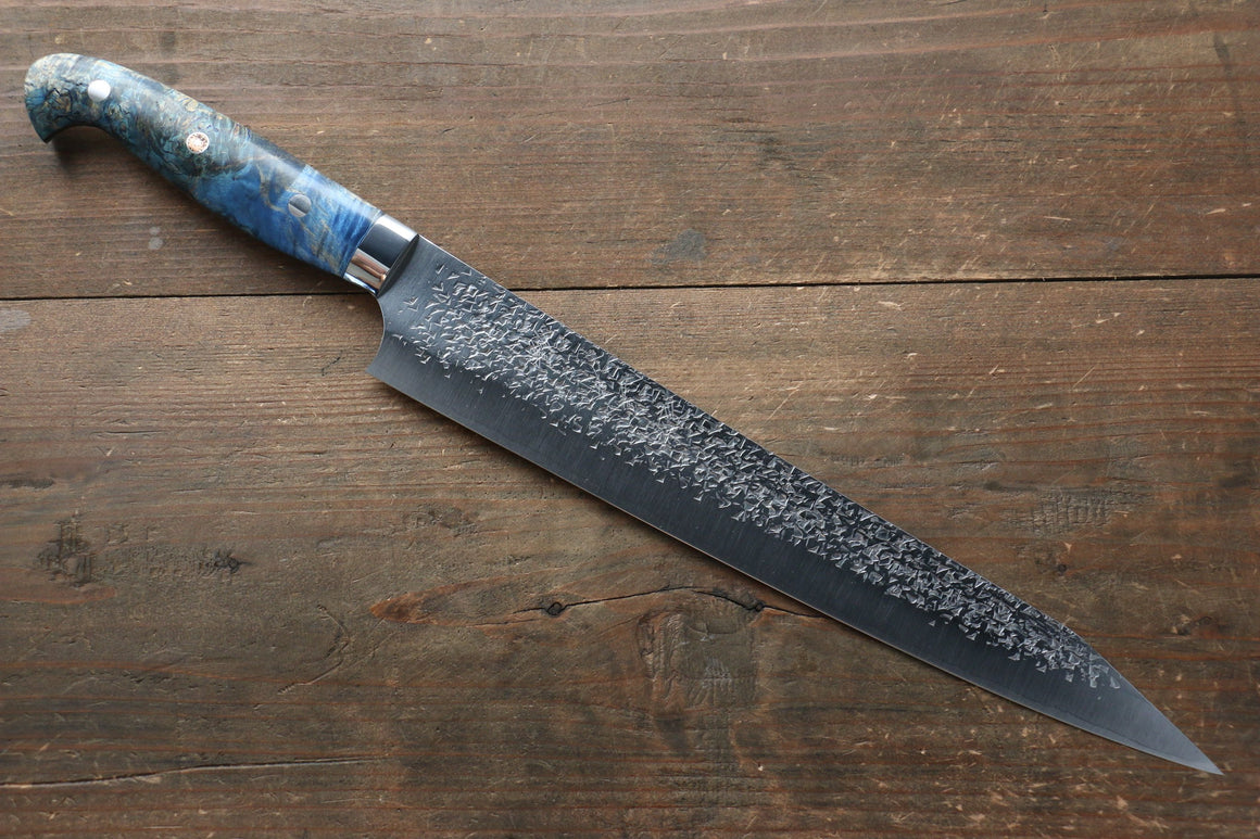 Yu Kurosaki Shizuku R2/SG2 Hammered Sujihiki Japanese Knife 270mm with Stabilized wood Handle - Japanny - Best Japanese Knife