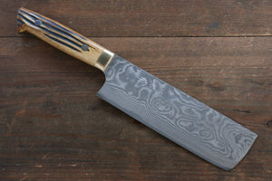 Takeshi Saji VG10 Black Damascus Nakiri Japanese Chef Knife 170mm with Brown Bone Handle - Japanny - Best Japanese Knife
