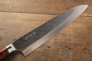 Takeshi Saji SRS13 Hammered Gyuto Japanese Knife 240mm with Red Pakka wood Handle - Japanny - Best Japanese Knife