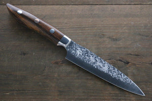 Yu Kurosaki Shizuku R2/SG2 Hammered Petty Japanese Chef Knife 120mm with Iron Wood Handle - Japanny - Best Japanese Knife
