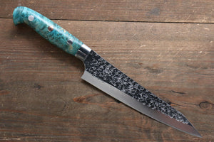 Yu Kurosaki Shizuku R2/SG2 Hammered Petty-Utility Japanese Knife 150mm with Stabilized wood Handle - Japanny - Best Japanese Knife