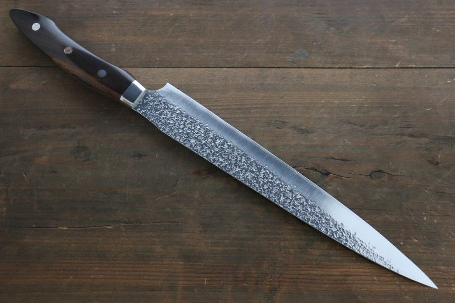 Yu Kurosaki Shizuku R2/SG2 Hammered Sujihiki Japanese Chef Knife 270mm with Iron Wood Handle - Japanny - Best Japanese Knife