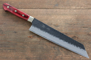 Seisuke Blue Super Hammered Kurouchi Kiritsuke Gyuto Japanese Knife 210mm with Red Pakka wood Handle - Japanny - Best Japanese Knife