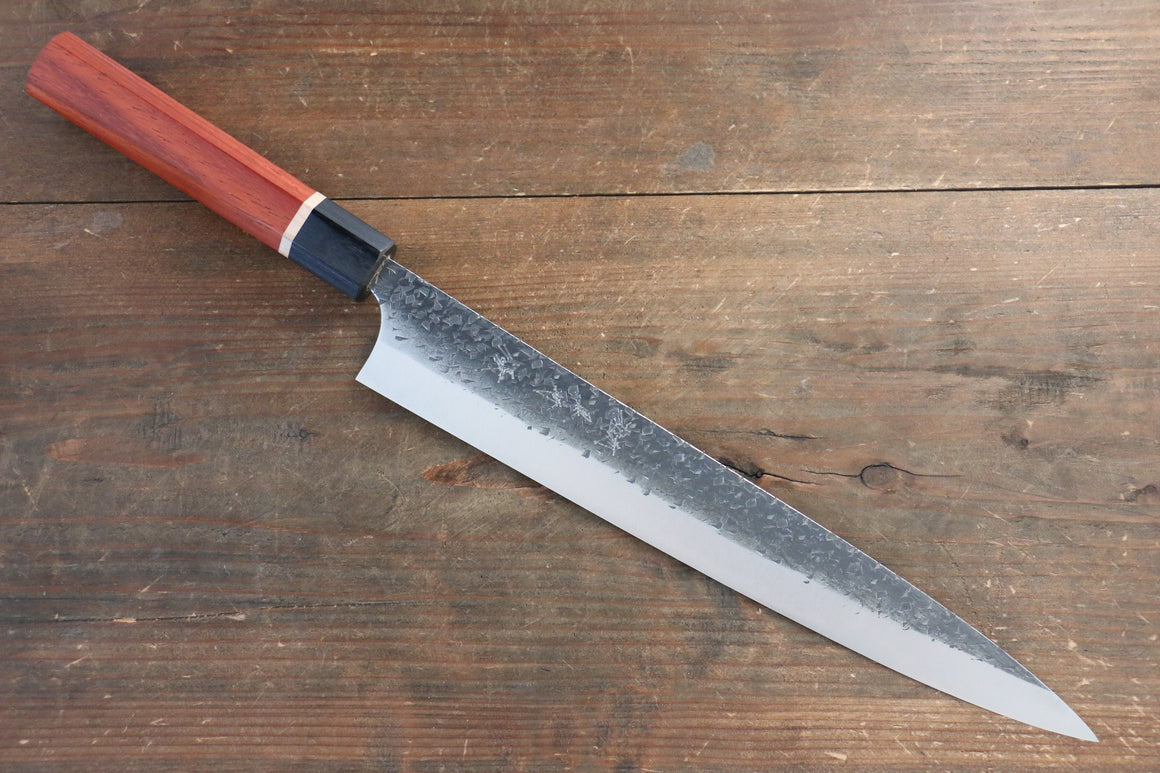Yu Kurosaki Blue Super Clad Hammered Kurouchi Sujihiki Japanese Chef Knife 270mm with Padoauk Handle - Japanny - Best Japanese Knife