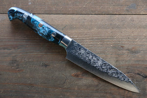 Yu Kurosaki R2/SG2 Hammered Petty Japanese Chef Knife 130mm with Blue Marble handle - Japanny - Best Japanese Knife