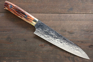Takeshi Saji R2/SG2 Diamond Finish Damascus Gyuto Japanese Chef Knife 180mm with Orange Bone Handle - Japanny - Best Japanese Knife