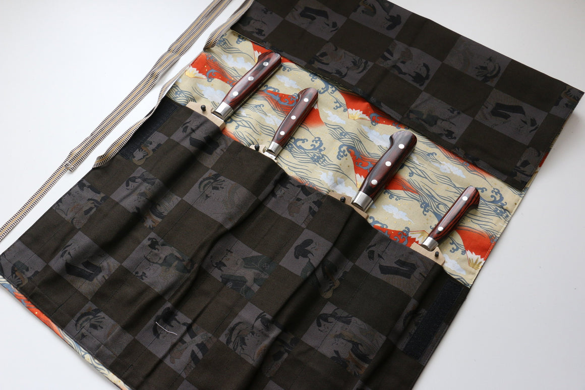 Japanese Style Knife Roll Kabuki-Ura-Fuji 4 Pockets - Japanny - Best Japanese Knife