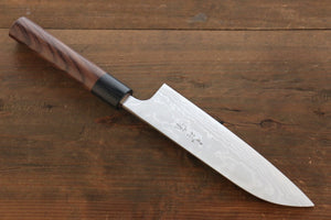Ogata White Steel No.2  Damascus Migaki Finished Santoku Japanese Knife 180mm with Shitan Handle - Japanny - Best Japanese Knife