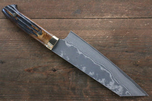 Takeshi Saji VG10 Black Damascus Bunka Japanese Knife 180mm with Brown Cow Bone  Handle - Japanny - Best Japanese Knife