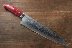 Takeshi Saji R2/SG2 Diamond Finish Damascus Gyuto Japanese Knife 240mm with Red Turquoise (Nomura Style) Handle - Japanny - Best Japanese Knife