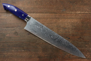 Takeshi Saji R2/SG2 Diamond Finish Damascus Gyuto Japanese Knife 240mm with Navy Blue Turquoise (Nomura Style) Handle - Japanny - Best Japanese Knife
