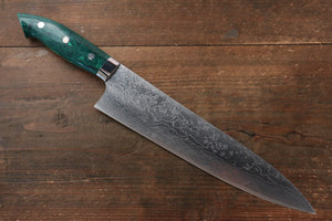 Takeshi Saji R2/SG2 Diamond Finish Damascus Gyuto Japanese Knife 240mm with Green Turquoise (Nomura Style) Handle - Japanny - Best Japanese Knife