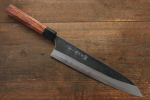 Yoshimi Kato Blue Super Clad Kurouchi Gyuto Japanese Chef Knife 240mm Honduras Handle - Japanny - Best Japanese Knife