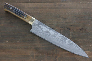 Takeshi Saji VG10 Black Damascus Gyuto Japanese Chef Knife 210mm with Brown Bone Handle - Japanny - Best Japanese Knife