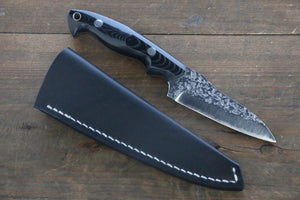 Yu Kurosaki R2/SG2  Hammered Hunter knife Japanese Chef Knife 90mm with Black Micarta handle - Japanny - Best Japanese Knife