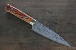 Takeshi Saji R2/SG2 Black Damascus Petty Japanese Chef Knife 135mm with Orange Bone Handle - Japanny - Best Japanese Knife