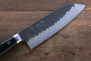 Yoshimi Kato Blue Super Kurouchi Hammered(Maru) Santoku Japanese Knife 160mm with Black Micarta Handle - Japanny - Best Japanese Knife