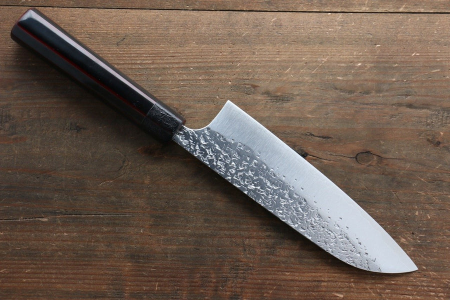 Yu Kurosaki Shizuku R2/SG2 Hammered Santoku Japanese Knife 165mm with Lacquered Handle - Japanny - Best Japanese Knife