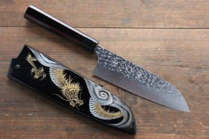 Yu Kurosaki Shizuku R2/SG2 Hammered Santoku Japanese Knife 165mm with Lacquered Handle with Saya (Dragon) - Japanny - Best Japanese Knife