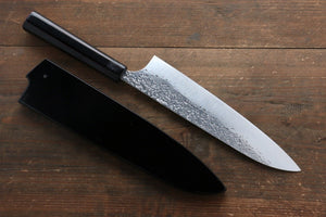 Yu Kurosaki Shizuku R2/SG2 Hammered Gyuto Japanese Knife 210mm with Lacquered Handle with Saya (Fuji) - Japanny - Best Japanese Knife