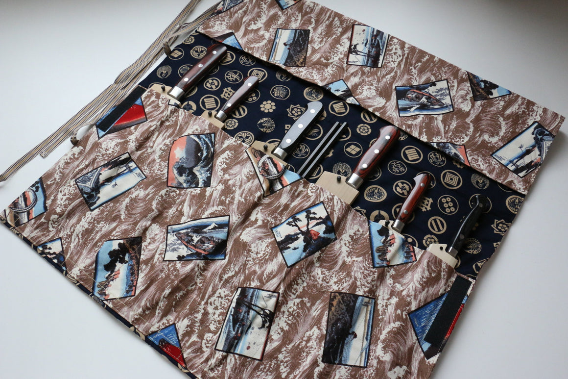 Japanese Style Knife Roll Ukiyoe-Ura-Goldkamon 7 Pockets - Japanny - Best Japanese Knife