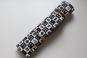 Japanese Style Knife Roll Konkanji-Ura-Konkasuri-Hikeshi 4 Pockets - Japanny - Best Japanese Knife