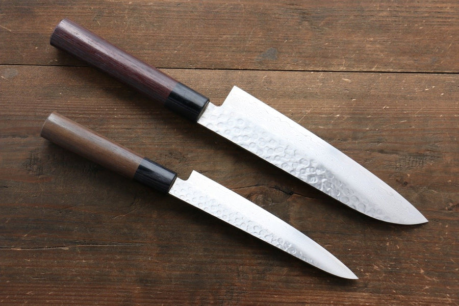 Sakai Takayuki 45 Layer Damascus Japanese Chef's Santoku Knife 180mm & Petty Knife 150mm with Shitan Handle Set - Japanny - Best Japanese Knife